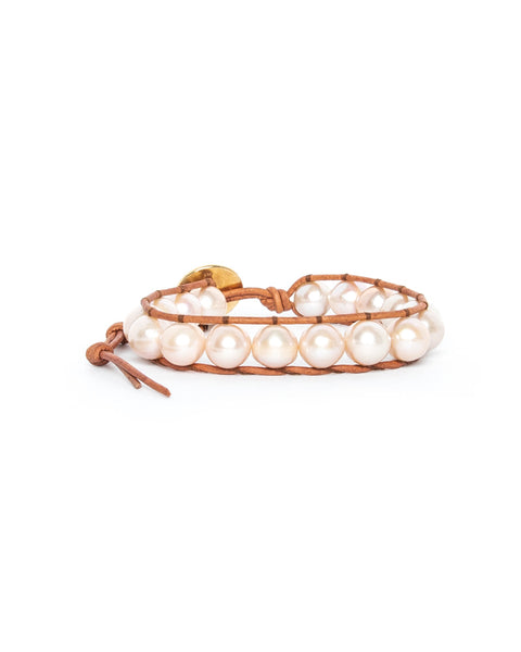 Natural Pink Baroque Pearl Single Wrap Bracelet