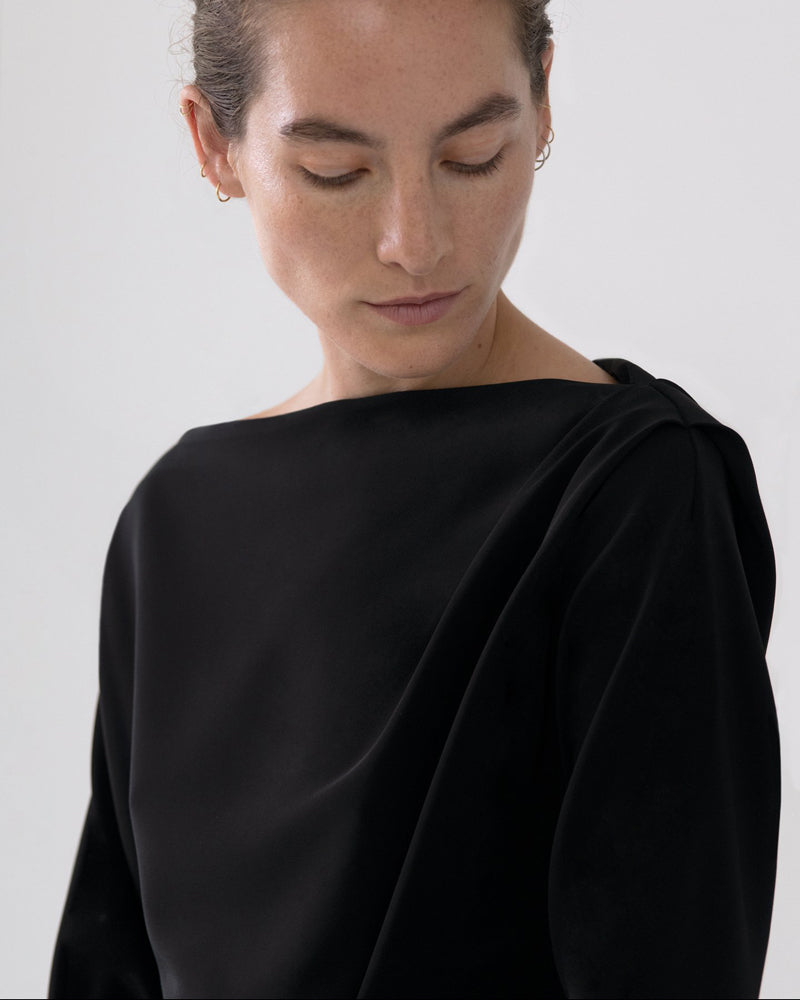 Draped Long Sleeve Top in Black