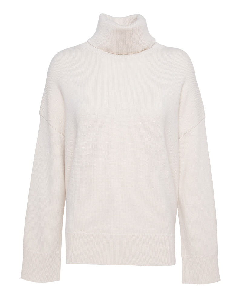 Drop Shoulder Boxy Turtleneck Sweater
