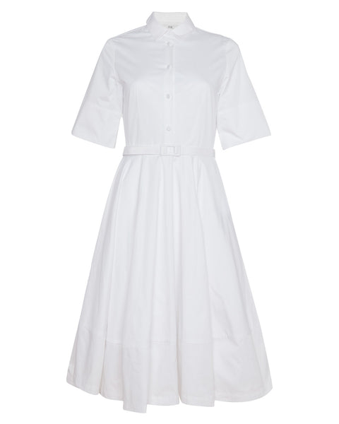 Short Sleeve Flared Dress in White