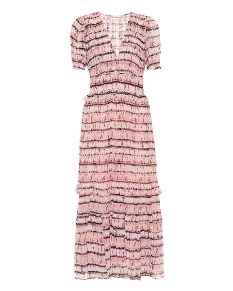 Elodie Tie Dye Printed Silk Midi Dress