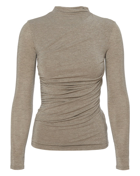 Lurex Jersey Long Sleeve Twist Top