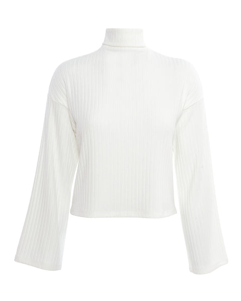 Sweater Rib Kimono Sleeve Cropped Turtleneck in White