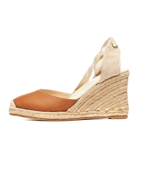 Tall Wedge Leather Espadrilles