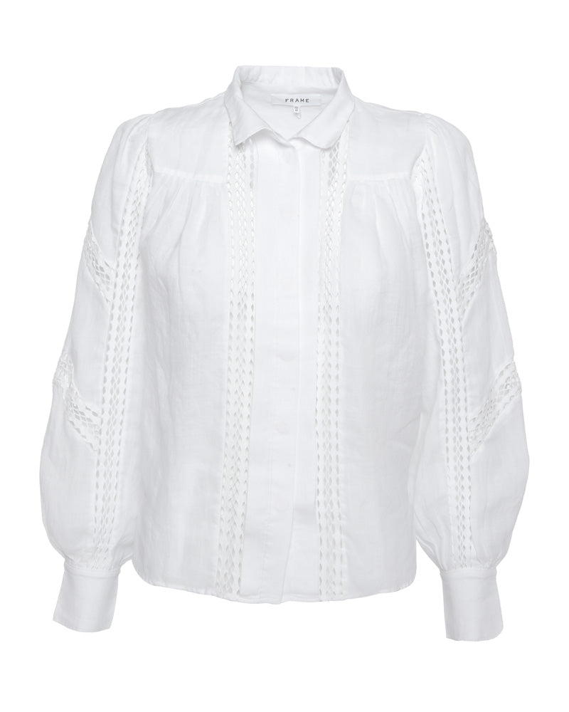 Panel Lace Button Up Shirt