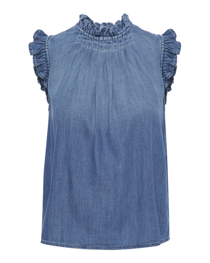 Ruffle Denim Sleeveless Top- EXTRA 10% OFF AT CHECKOUT