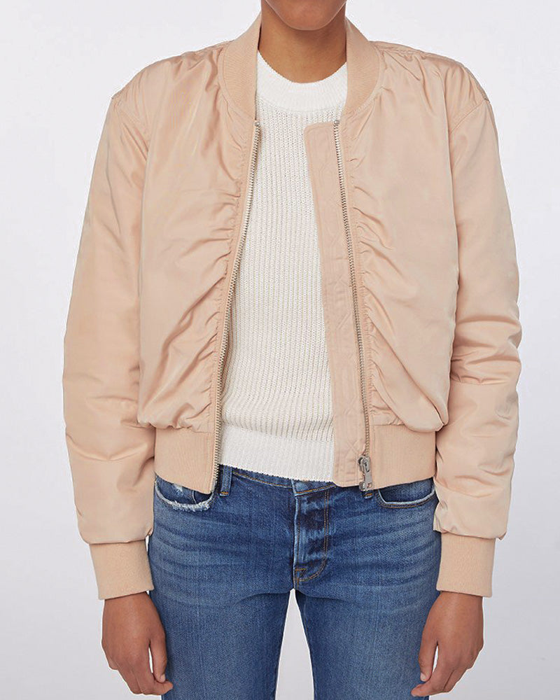 Shirred Button Up Bomber- EXTRA 10% OFF AT CHECKOUT