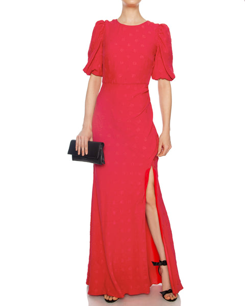 Annie B Silk Gown in Scarlet