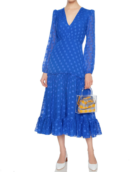 Devon Midi Dress in Cobalt Blue