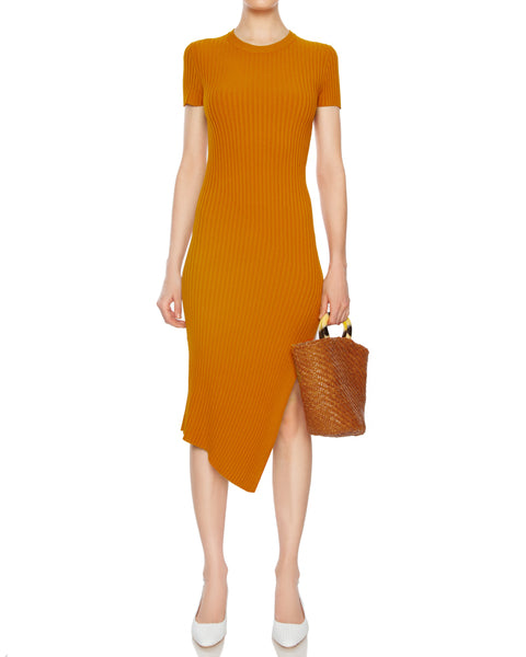 Minetta Ribbed Midi Dress in Light Honey