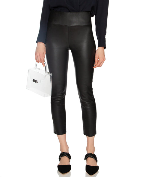 High Waisted Capri Leather Legging Black