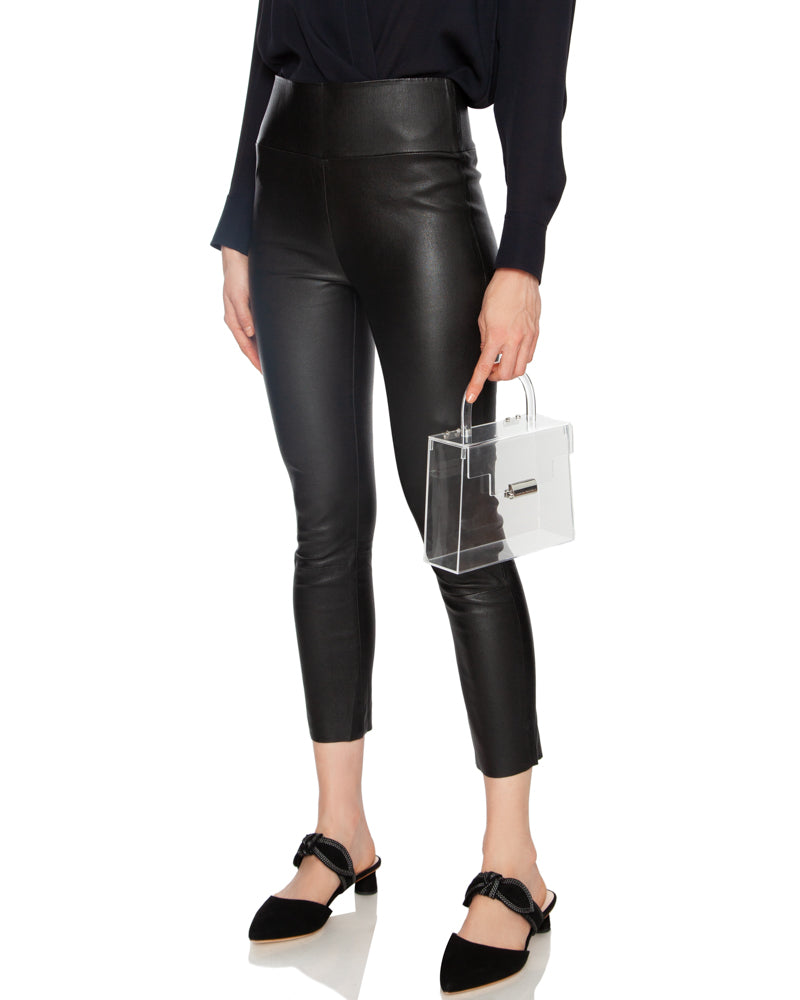 High Waisted Capri Leather Legging in Black