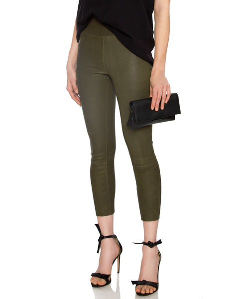 High Waisted Capri Leather Legging Army