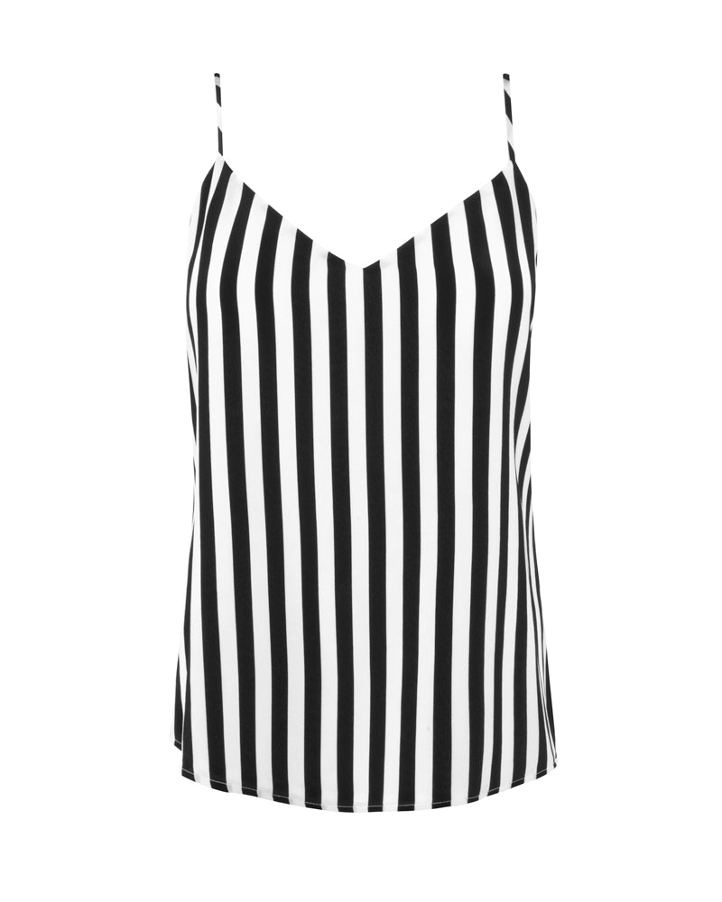Jane Spaghetti Strap Top-Black/White
