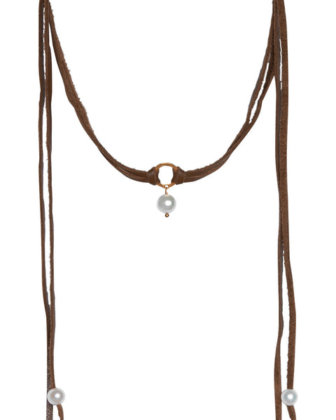 Saddle Leather Stone Choker