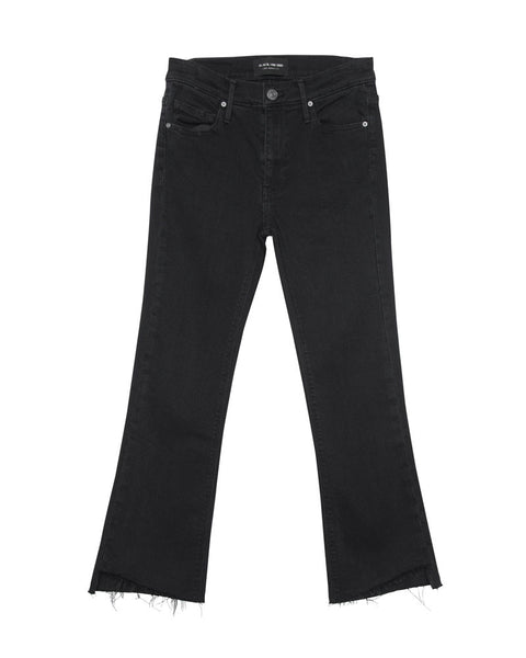Cindy Slant Fray Hem Crop Jean Black Stone