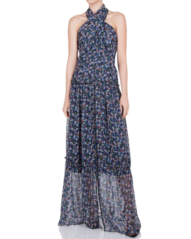 Posie Cross Halter Maxi Dress