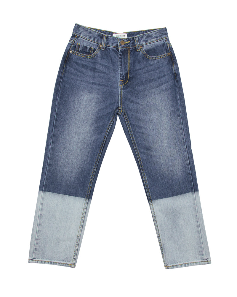 Deep Dyed Two Tone Denim Pants