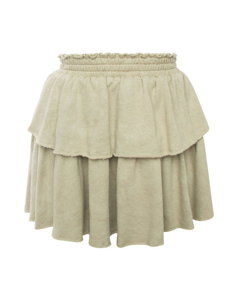Ruffle Mini Skirt-Military