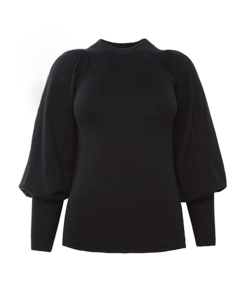 Dewi Puff Sleeve Crewneck-Black