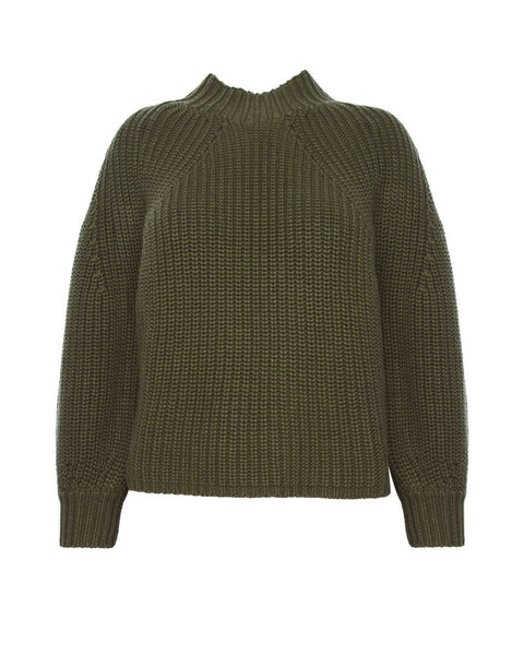 Merel Funnel Neck Crop-Military