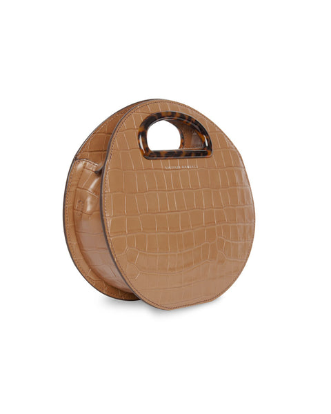 Indy Circle Croc Embossed Leather Crossbody Bag