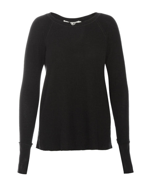 Long Sleeve Notch Neck Hi Low with Thumbholes