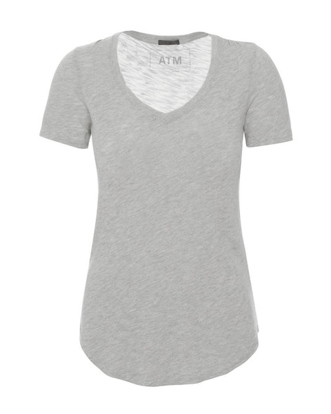 Short Sleeve V Neck-Heather Grey