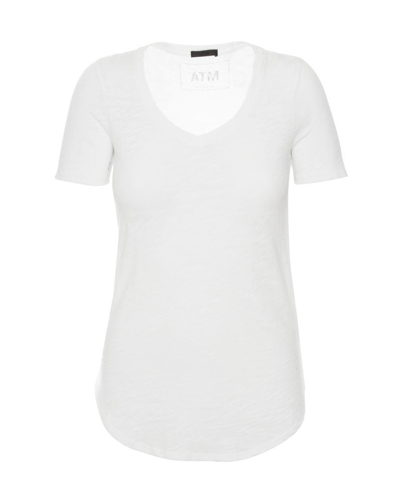 Short Sleeve V Neck Tee White
