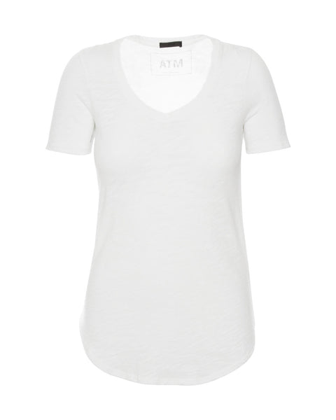 Short Sleeve V Neck-White