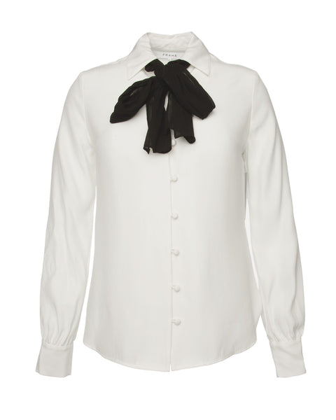Pussy Bow Blouse-Off White