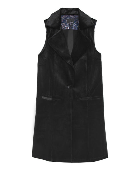 Thompson Brushed Velvet Pleated Back Woven Vest