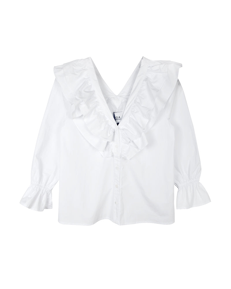 Ruffle Neck Button Up Top