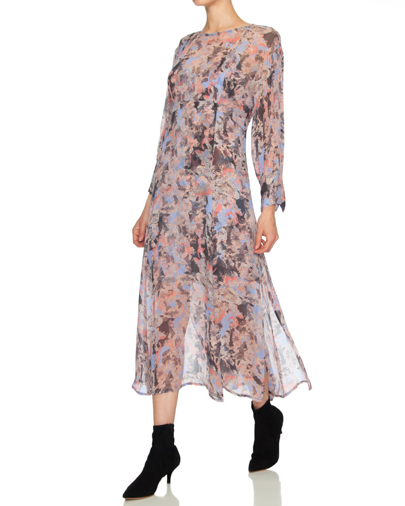 Norma Printed Scoop Neck Midi Dress