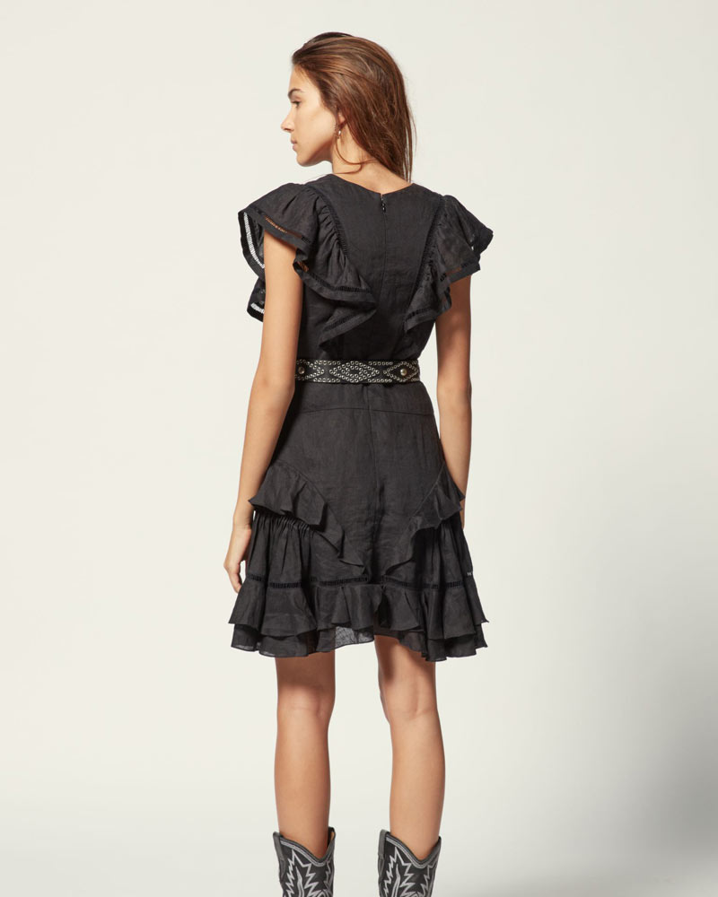 Audrey Linen Ruffle Mini Dress