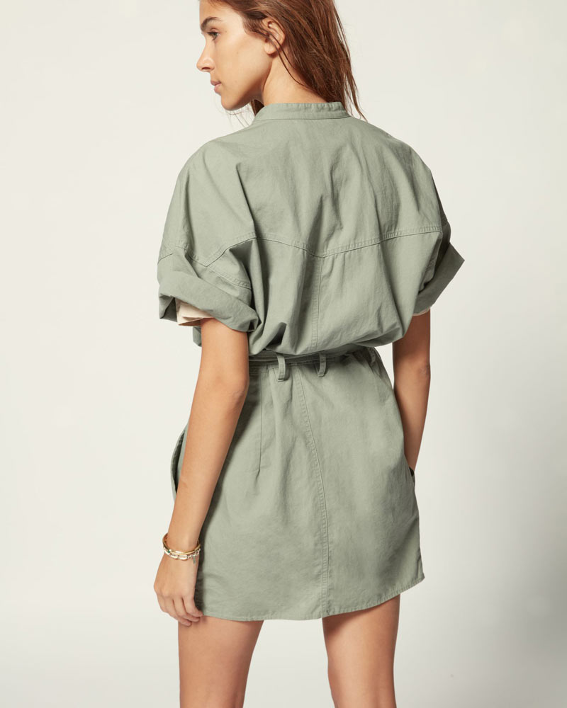 Zolina Belted Cotton Mini Dress