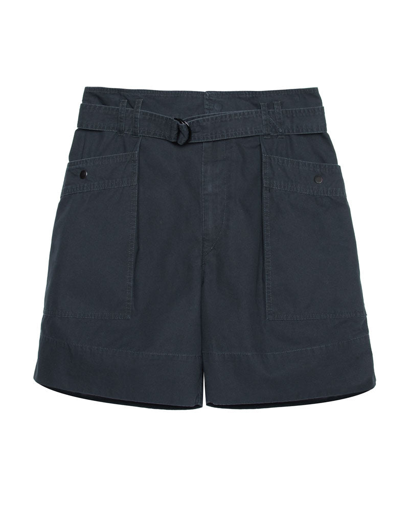 Zayna High Waisted Belted Cotton Shorts
