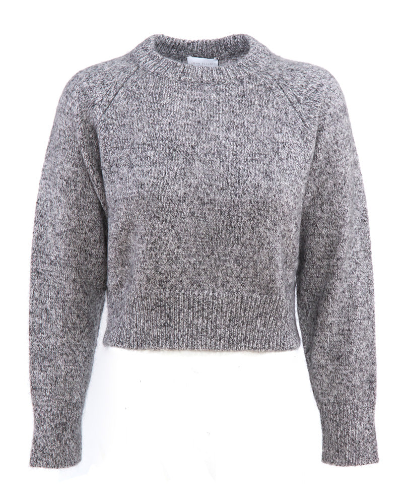 Cashmere Blend Cropped Crew Neck Sweater