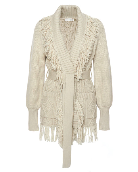 Anina Fisherman Knit Fringe Cardigan