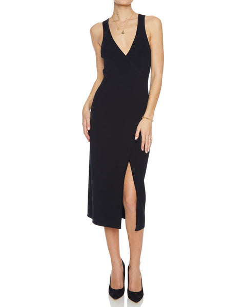 Deep Rib Wrap Dress