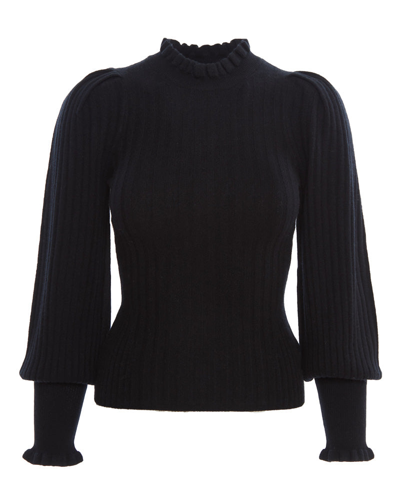 Drew Wool Cashmere Puff Sleeve Sweater