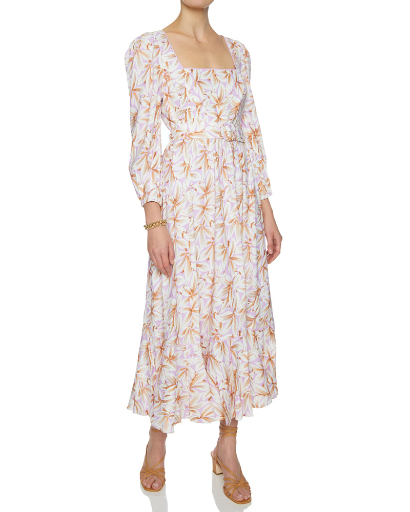 Ella Floral Linen Belted Midi Dress