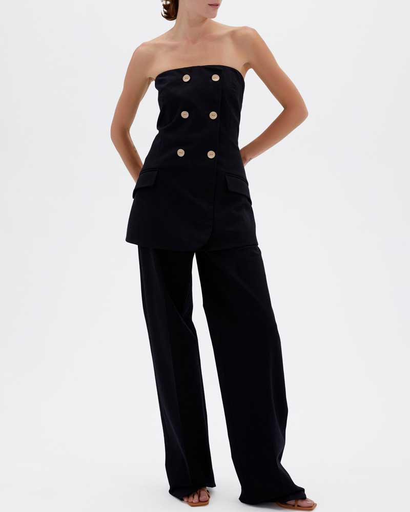 Essie Bi-Stretch Cotton Twill Strapless Double Breasted Jumpsuit