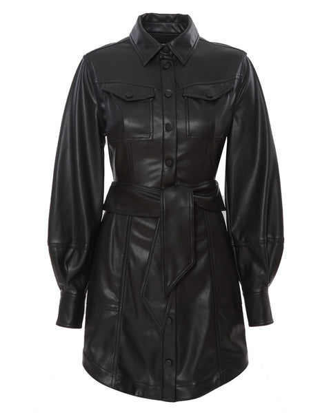 Eve Vegan Leather Long Sleeve Mini Shirt Dress