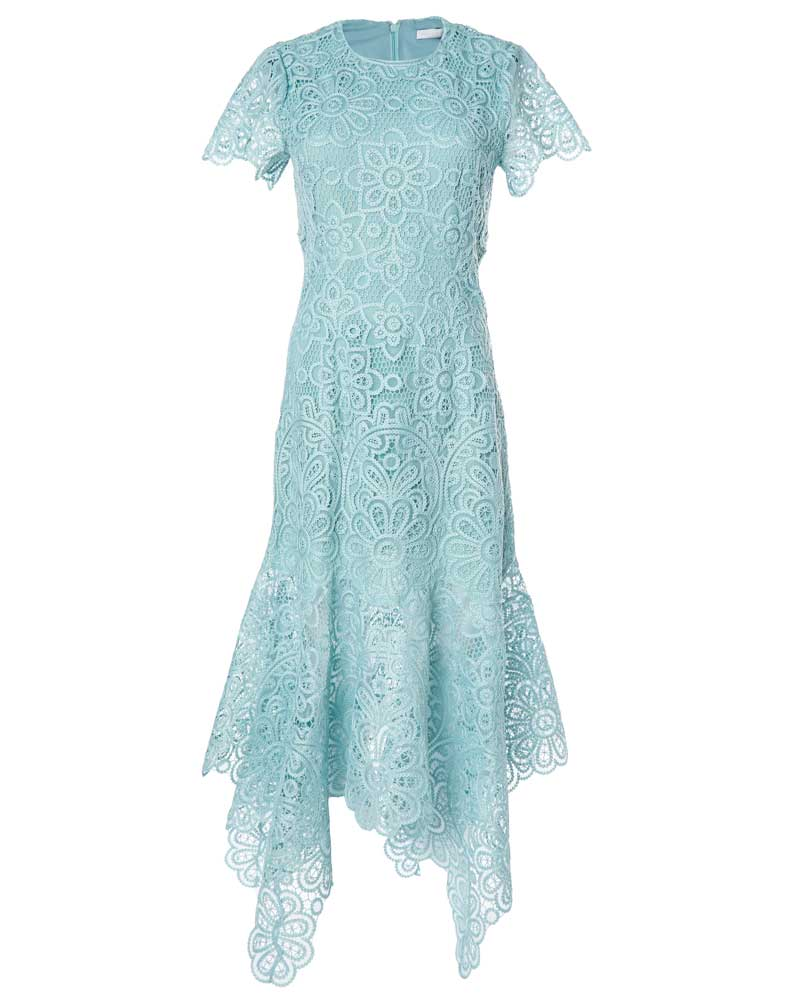 Tatum Crochet Guipure Short Sleeve Midi Dress