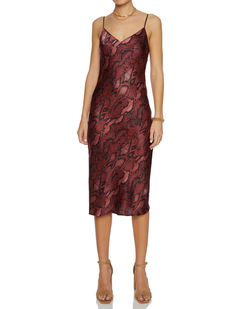 Jodie V Neck Slip Dress Garnet Black