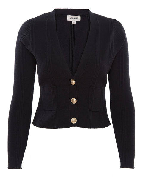 Jamie Cropped Cardigan in Black