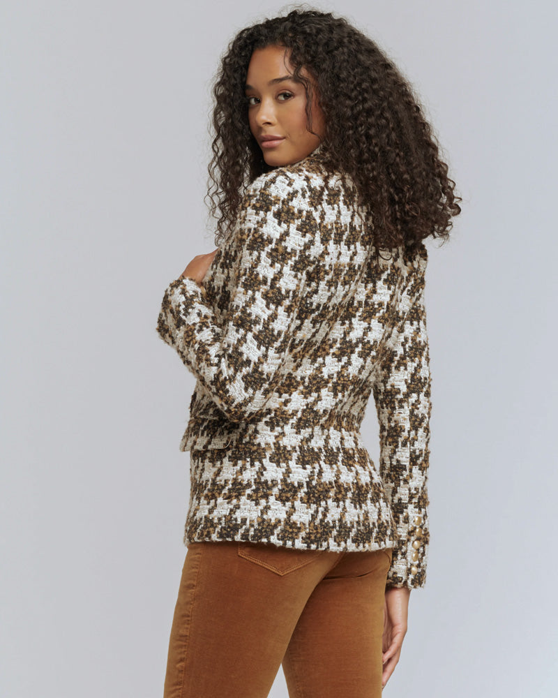 Kenzie Double Breasted Blazer in Brown Houndstooth