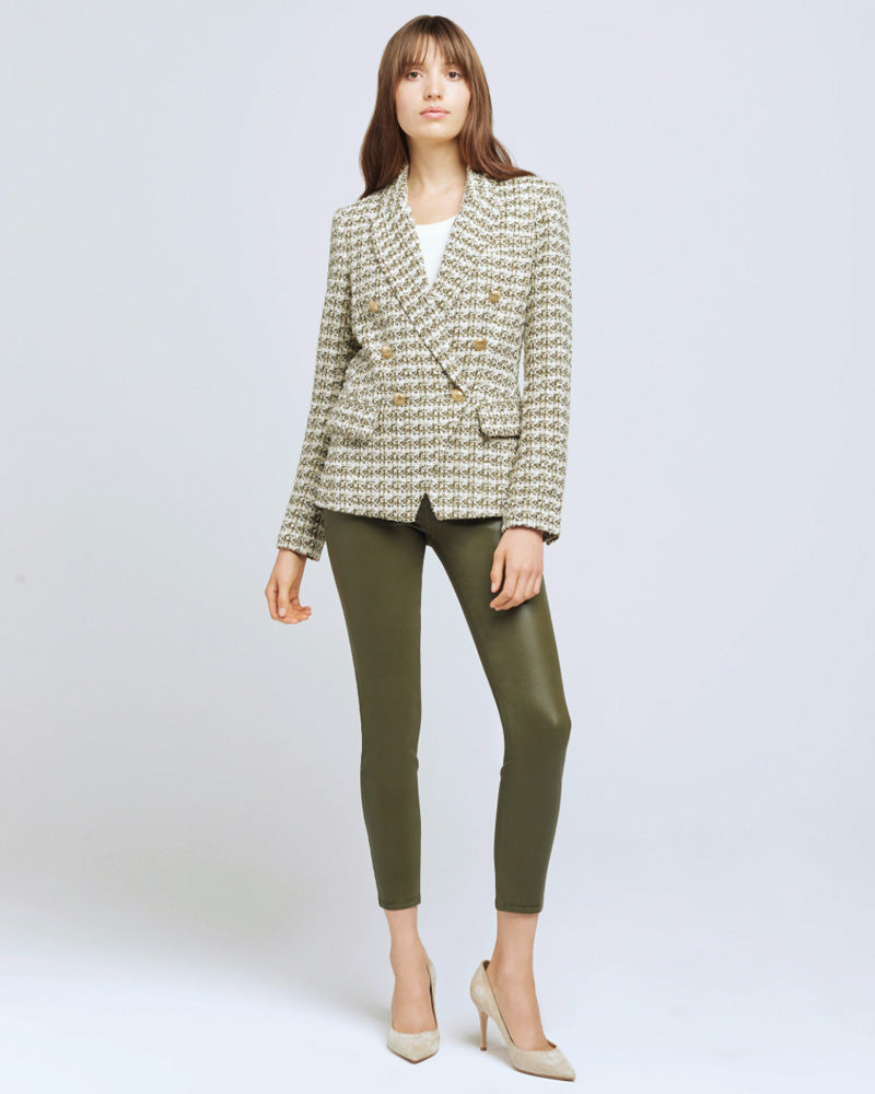 Kenzie Double Breasted Blazer in Olive Tweed