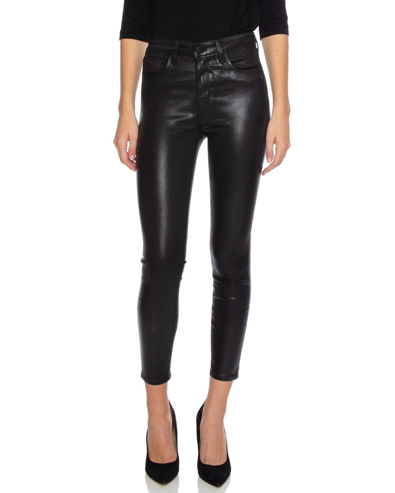 Margot High Rise Skinny Jeans in Black Coated